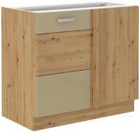 Rohová spodní skříňka 90 ND ARTISAN CAPPUCCINO lesk / dub artisan