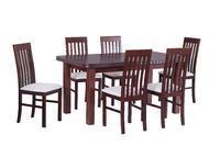 Jídelní sestava, stůl WENUS V a židle NILO I, ořech