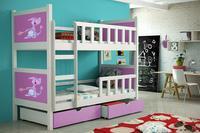 Dětská patrová postel se zábranou PINOCCHIO 2 bílá