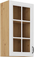 Horní skříňka prosklená 40 90 1F STILO bílá/dub artisan