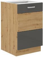 Spodní skříňka pod dřez 50 1F ARTISAN ŠEDÝ lesk/ dub artisan