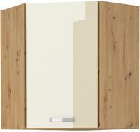 Horní skříňka rohová 58x58 90 ARTISAN KRÉM  lesk / dub artisan