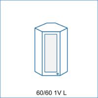 Horní rohová skříňka 60/60 vitrína 1D REMI