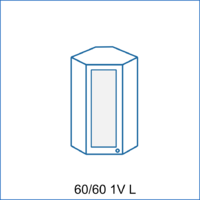 Horní rohová skříňka 60/60 vitrína 1D LENA