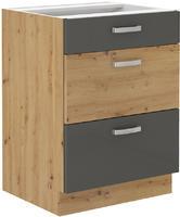 Spodní skříňka se šuplíky 60 3S ARTISAN ŠEDÝ lesk / dub artisan