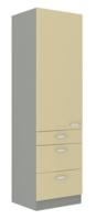 Vysoká skříň potravinová 60 DKS KARMEN krémový lesk / šedá