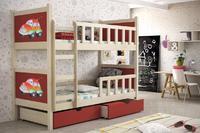 Dětská patrová postel se zábranou PINOCCHIO 2  přírodní