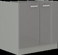 Spodní skříňka 80 2F GREY šedý lesk / šedá