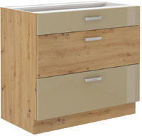 Spodní skříňka se šuplíky 80 3S ARTISAN CAPPUCCINO lesk / dub artisan