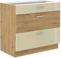 Spodní skříňka se šuplíky 80 3S ARTISAN KRÉM lesk / dub artisan