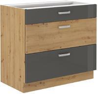 Spodní skříňka se šuplíky 80 3S ARTISAN ŠEDÝ lesk / dub artisan