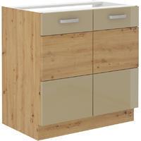 Spodní skříňka pod dřez 80 2F ARTISAN CAPPUCCINO lesk/ dub artisan