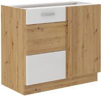 Rohová spodní skříňka 90 ND ARTISAN bílý lesk / dub artisan