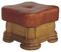 Rustikální taburet kožený