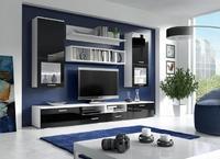 Obývací stěna FRANCO, bílá/černý lesk