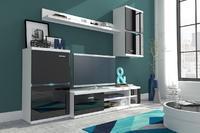 Obývací stěna INTEL, bílá/černý lesk