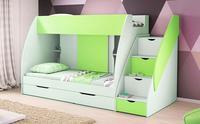 Patrová postel MARTÍNEK, zelená/bílá
