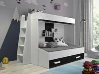 Patrová postel PARTY 17, bílá/černý lesk