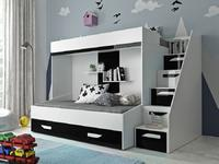 Patrová postel PARTY 16, bílá/černý lesk