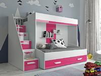 Patrová postel PARTY 16, bílá/růžový lesk