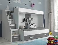 Patrová postel PARTY 16, bílá/šedý lesk