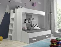 Patrová postel PARTY 17, bílá/šedý lesk