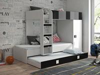 Patrová postel TOLEDO 2, bílá/černý lesk