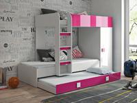 Patrová postel TOLEDO 2, bílá/růžový lesk