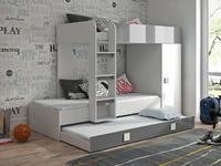 Patrová postel TOLEDO 2, bílá/šedý lesk