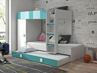 Patrová postel TOLEDO 2, bílá/tyrkysový lesk