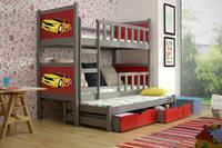 Dětská patrová postel PINOKIO 3 šedá