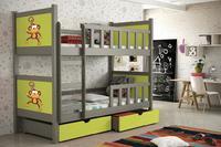 Dětská patrová postel PINOKIO 2 šedá