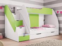 Dětská patrová postel MARTÍNEK, zelená/bílá