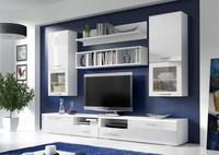 Obývací stěna FRANCO, bílá/bílý lesk