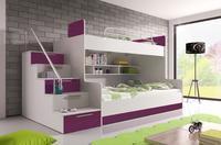 Patrová postel RAJ 2, bílá/fialový lesk