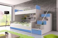 Patrová postel RAJ 2, bílá/modrý lesk