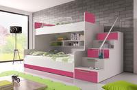 Patrová postel RAJ 2, bílá/růžový lesk