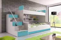 Patrová postel RAJ 2, bílá/tyrkysový lesk