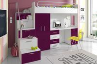 Patrová postel RAJ 4, bílá/fialový lesk