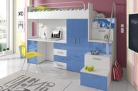 Patrová postel RAJ 4, bílá/modrý lesk