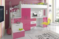 Patrová postel RAJ 4, bílá/růžový lesk