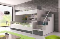 Patrová postel RAJ 2, bílá/šedý lesk