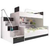 Patrová postel RAJ 2, bílá/černý lesk