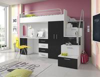 Patrová postel RAJ 4, bílá/černý lesk