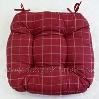 Sedák čalouněný, červený kostkovaný