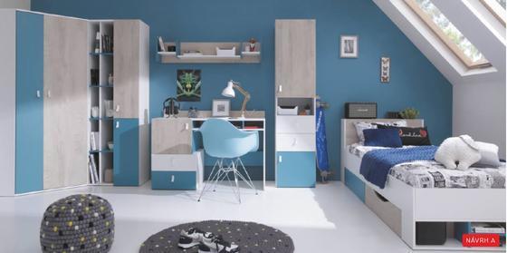 Nábytková sestava A | PLANET bílá, dub, modrá  - 1