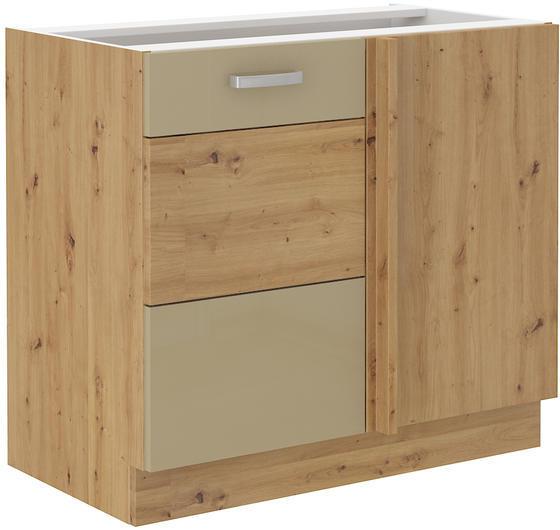 Rohová spodní skříňka 90 ND ARTISAN CAPPUCCINO lesk / dub artisan  - 1