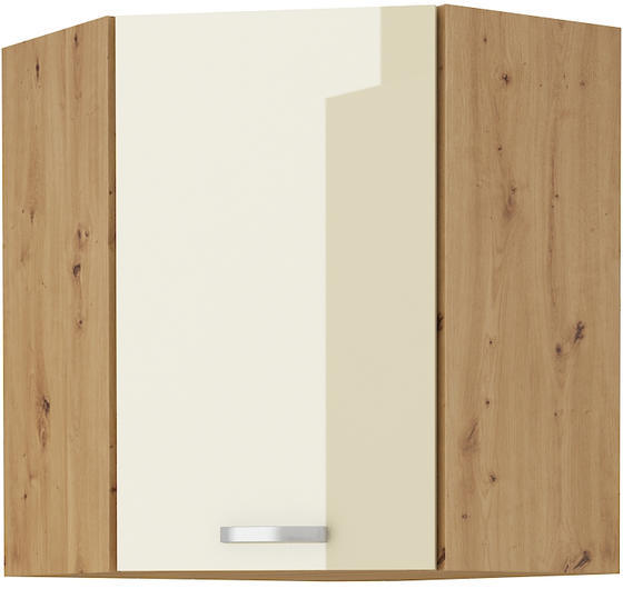Horní skříňka rohová 58x58 90 ARTISAN KRÉM  lesk / dub artisan  - 1