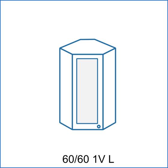 Horní rohová skříňka 60/60 vitrína 1D REMI  - 1
