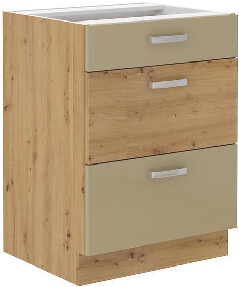 Spodní skříňka se šuplíky 60 3S ARTISAN CAPPUCCINO lesk / dub artisan  - 1